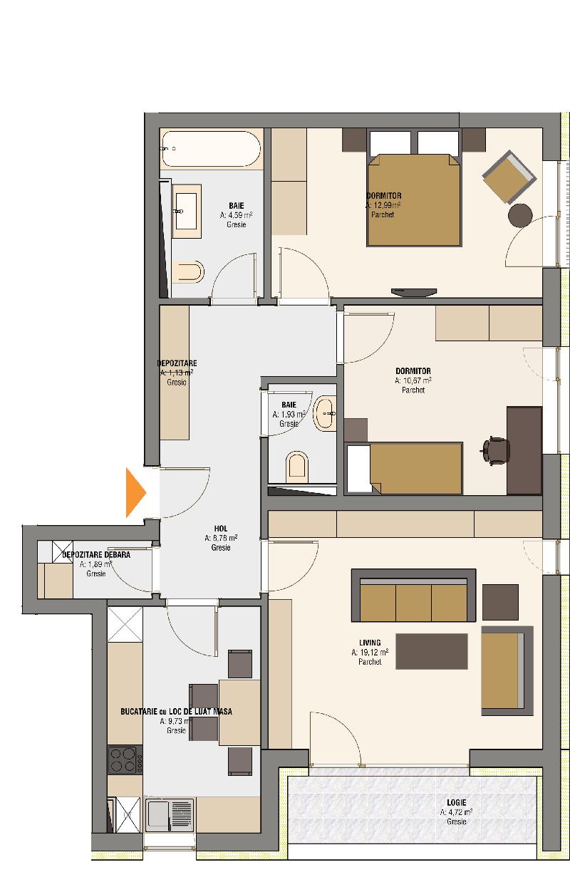 Plan Apartament 3 camere 7083 m2